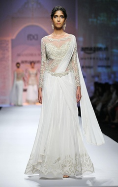 White & gold embroidered yoke sari gown