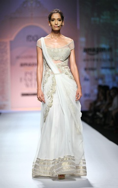 White & gold off-shouldered sari gown