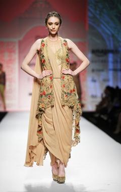Beige draped pre-stitched sari