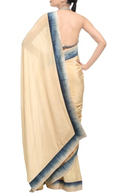 beige & gold sari with silk shaded border