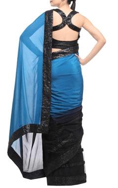 black & blue sari with sequin embellishments
