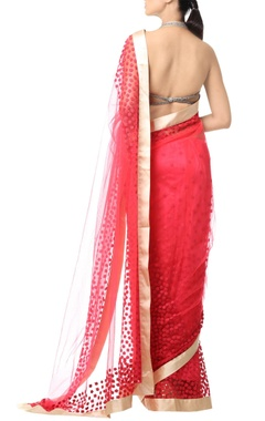 coral pink floral thread embroidered sari