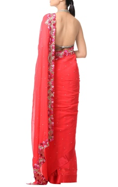 Coral orange floral embroidered sari