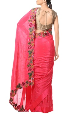 Coral pink floral threadwork embroidered sari