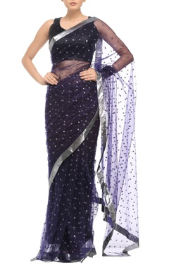 Black sari with floral sequin embellishments