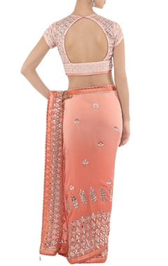powder pink & silver embroidered sari