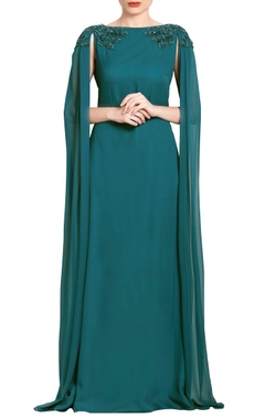 Teal green embroidered & draped gown