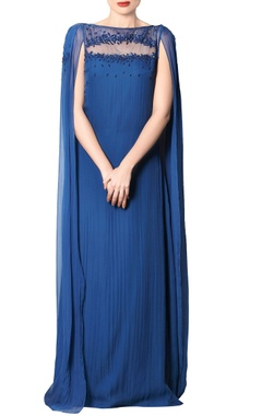 cobalt blue embroidered & draped gown
