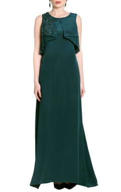 Teal green flap-embellished gown
