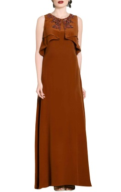 brown flap-embellished gown