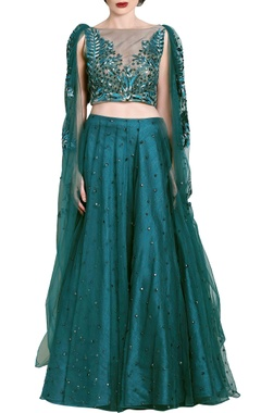 teal green embellished & draped lehenga set