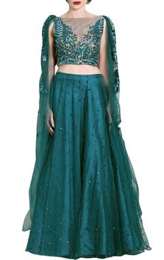 Teal green embellished & draped lehenga set