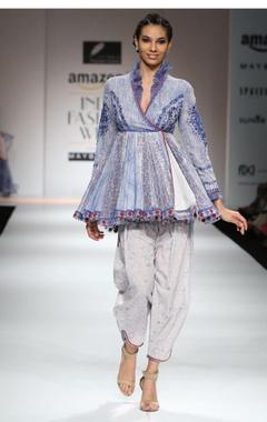 White & blue embroidered angrakha & pants