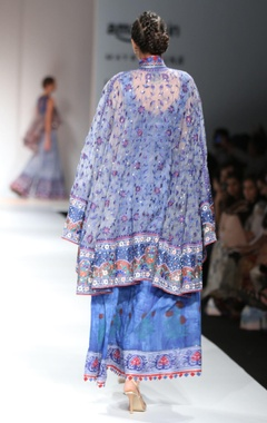 Blue & grey anarkali with embroidered cape