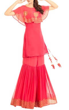 Coral pink embroidered cape kurta with sharara