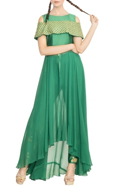 emerald cold shoulder embroidered kurta with pants