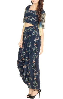 bottle blue printed crop top with dhoti skirt & ombre jacket