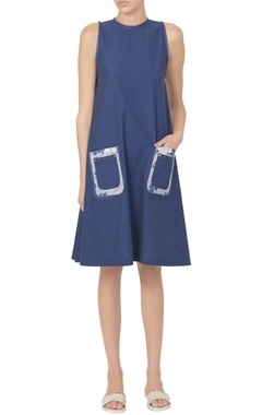 Blue dress with printed patch pockets