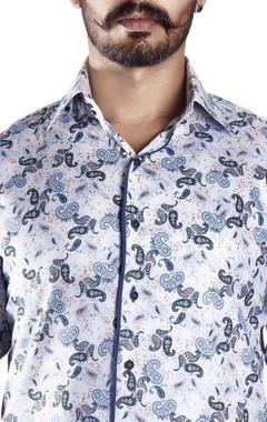 White & blue paisley printed shirt