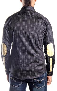 Black & mustard polka dotted shirt