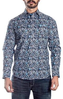 Black and blue paisley printed shirt