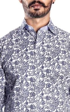 White & blue floral printed shirt