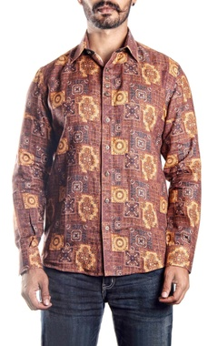 Brown printed linen shirt