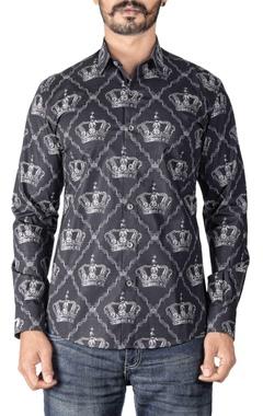Paresh Lamba Black crown printed shirt
