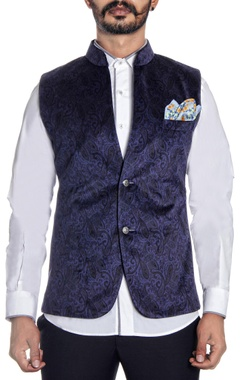 Navy blue velvet nehru jacket