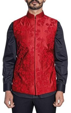 Paresh Lamba red silk floral embroidered bandi