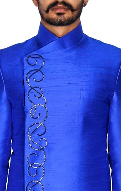 Blue raw silk overlap sherwani
