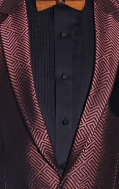 Metallic red & black tuxedo suit