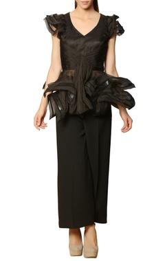 black draped peplum top