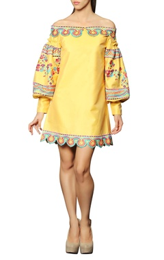 Yellow embroidered off-shouldered dress