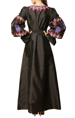 Black embroidered tie-up maxi dress