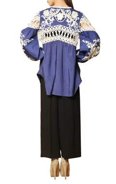 blue & white thread embroidered top