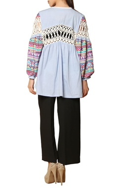 light blue & white thread embroidered top