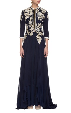 navy blue embroidered anarkali with long skirt