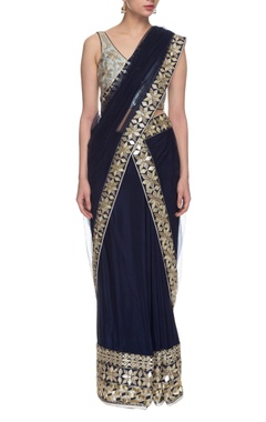 navy blue embroidered two piece sari