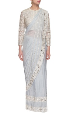 light grey embroidered sari & jacket blouse