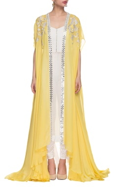 white kurta set with light yellow embroidered long jacket