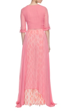 light pink embroidered uneven hem kurta set