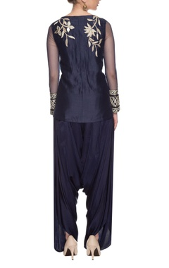 navy blue embroidered kurta & dhoti pants set