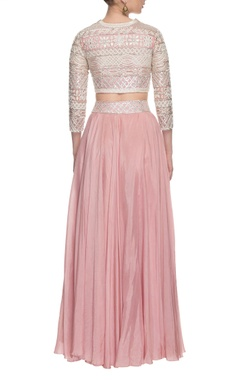 light pink embroidered lehenga & jacket