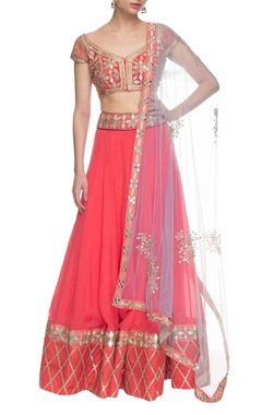 Coral pink embroidered lehenga set.
