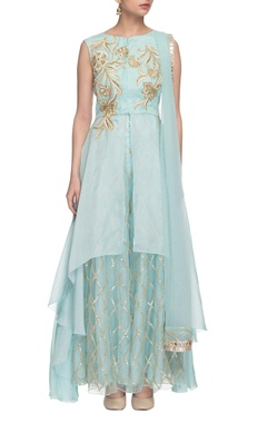 aqua blue embroidered high-low kurta set