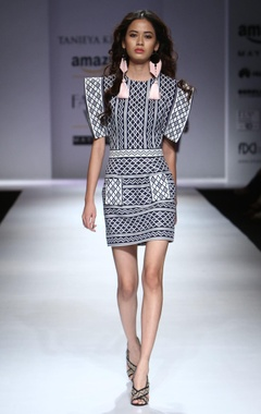 Indigo & white statement sleeved dress