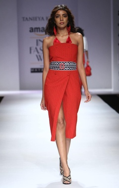 Red textured asymmetrical tube dress