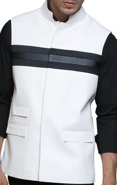 black & white paneled nehru jacket