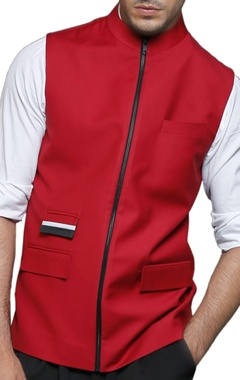red zipper nehru jacket